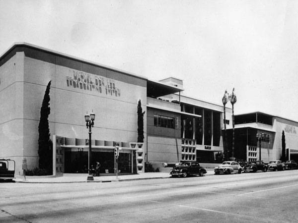 KCET's first studio facility in Hollywood opened in 1948 as the headquarters of the Mutual-Don Lee broadcasting empire. Circa 1949 photo courtesy of the Security Pacific National Bank Collection - Los Angeles Public Library.
