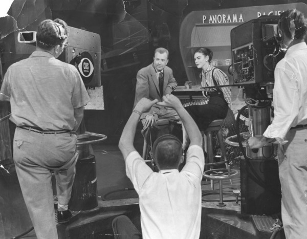 Filming CBS's 'Panorama Pacific' inside the 1313 Vine facility in 1955. Courtesy of the Herald-Examiner Collection - Los Angeles Public Library.