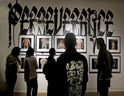 Install shot at JANM, Chaz Bojorquez lettering.