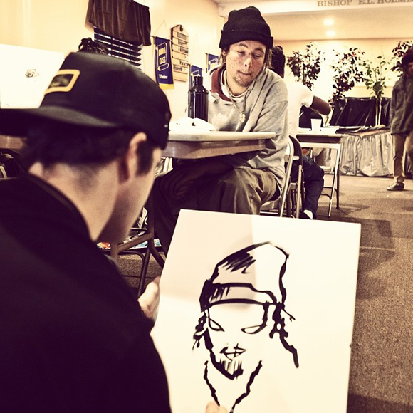 Artist Gregory Siff drawing SPY youth partner Chandler.