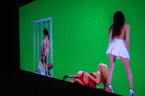 "Installation view from Petra Cortright's ""NIKI, LUCY, LOLA, VIOLA"" at Depart Foundation in Los Angeles."
