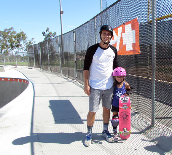Ryann and her dad at YMCA Skate Park in Encinitas.