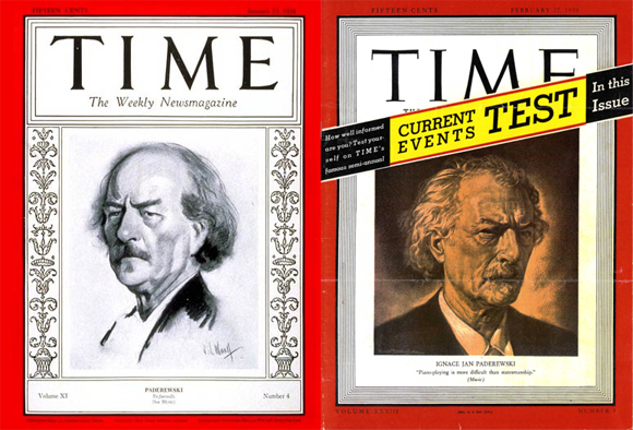 Ignacy Jan Paderewski appeared on the cover of Time magazine twice -- on Jan. 23, 1928, and on Feb. 27, 1939. | Time Warner Inc.