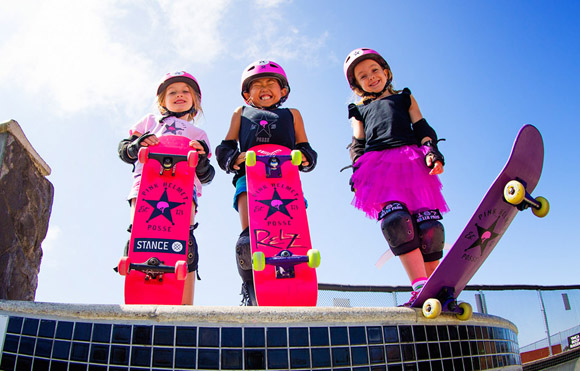 Bella, Relz and Sierra of the Pink Helmet Posse, courtesy of the Pink Helmet Posse.