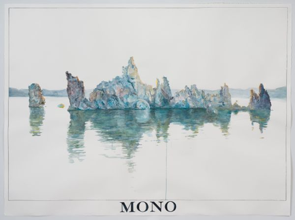 """""""South Tufa, Mono Lake at 7:12 AM, June 18th, 2013."""" Watercolor, gouache, and ink on paper 71"""" x 96"""" 