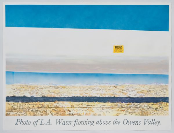 """Los Angeles Water Flowing Over the Owens Valley."" Watercolor, gouache, and ink on paper 71"" x 93 ½"" 