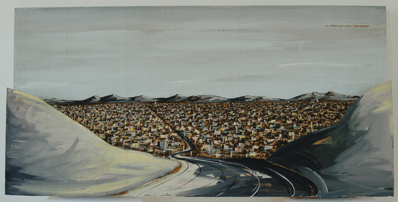 Karla Klarin, Valley View, 1984 / ●Acrylic paint on 3-D construction, 30 in. x 60 in. | Courtesy of CSUN.