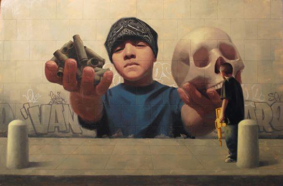 """Mean Streets,"" oil on panel 16"" 24"", Van Saro"