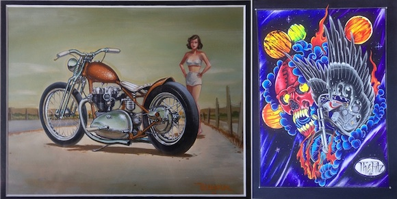 "L: Keith Weesner, ""Copper Chopper,"" 2002, Acrylic on board, Courtesy of Coby Gewertz private collection R: Alan Fitzgerald, ""Cosmic Scooter,"" 2013, Marker on 140 lb. cold press arches paper, Courtesy of the artist"