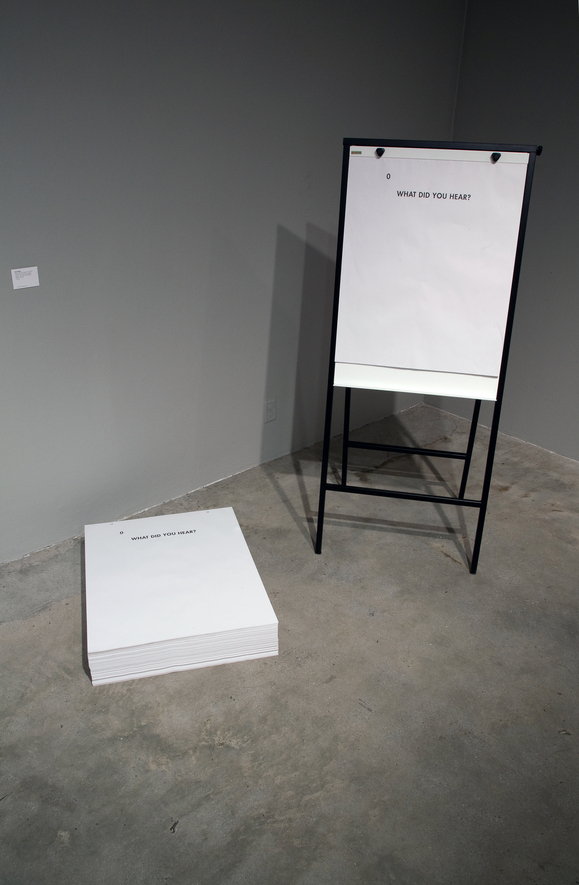 "Ultra-red, ""What did you hear?"" (2011) Description: installation view, offset print flip-chart tablets, 50 sheets, 27"" x 34"", unlimited edition. Los Angeles Municipal Art Gallery. 