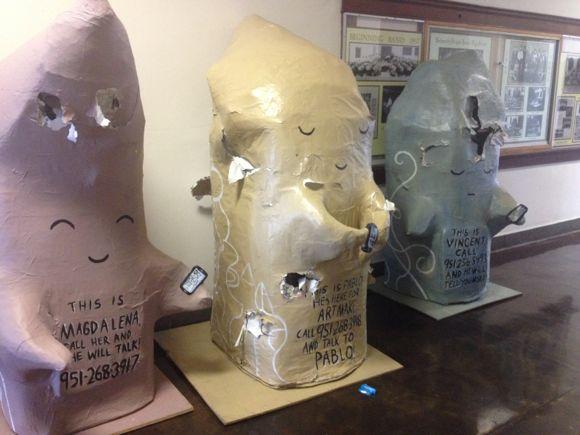 Two weeks into Riverside Art Make, Nathaniel Osollo's pieces were vandalized.   Photo: Liz Ohanesian