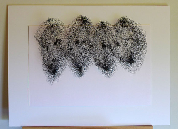 "Keiko Kasai, ""Shadow Tremor 6,"" 2014, 40"" x 30"" Black Fabric, Sumi Ink on Paper"