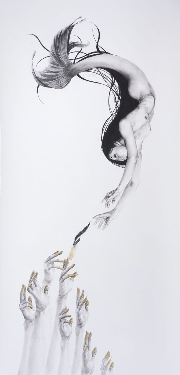 """The Vampiric Deception of Disembodied (Souls),"" Charcoal and Watercolor on Rives BFK, 20"" x 40,"" 2014"