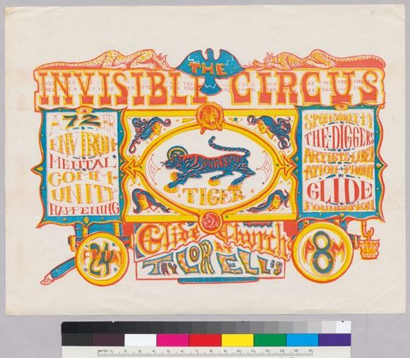"""Dave Hodges """"Poster for The Invisible Circus: A 72 Hour Environmental Community Happening"""" (1967) from """"Earthquakes, Mudslides, Fires & Riots: California & Graphic Design 1936-1986)"""""""