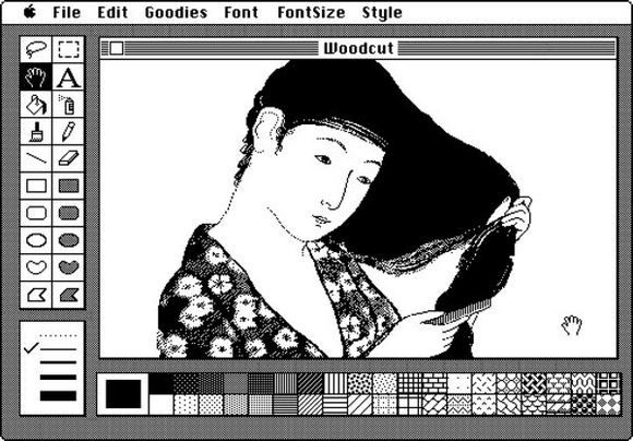 """Susan Kare """"Macpaint Interface for Macintosh"""" (1983) from """"Earthquakes, Mudslides, Fires & Riots: California & Graphic Design 1936-1986"""""""