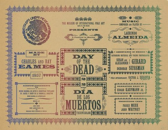 """Eames Office, """"Day of the Dead Title Card"""" (1957) from """"Earthquakes, Mudslides, Fires & Riots: California & Graphic Design 1936-1986"""""""