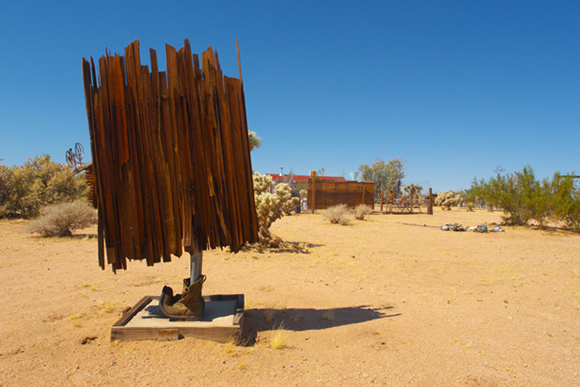 Noah Purifoy, Untitled, 1990, salvaged wood and shoes, 63 x 32 x 34 | Courtesy of Purifoy Foundation, Photo by Joel Spitalnik