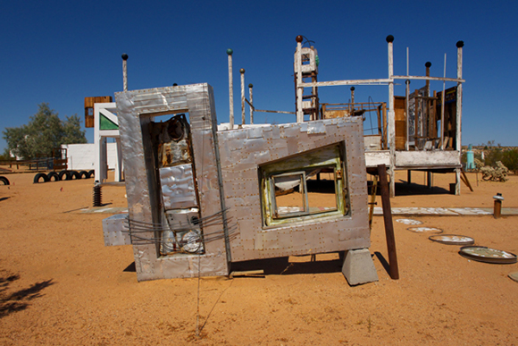 Noah Purifoy, Untitled (Car Door), 1992, salvaged scrap metal, 73 x 101 x 13.5 |  Courtesy of Noah Purifoy Foundation, photo by Joel Spitalnik