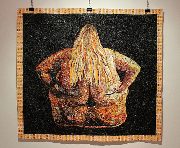 """Postura Consumo,"" a collage made of fast food wrappers by Pablo Llana. 