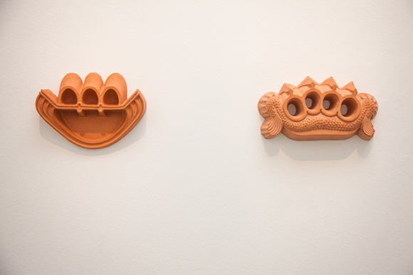 """Knuckle,"" 2013.   Concrete and pigment, diptych .14 x 7 ½ inches, 13 x 9 ½ inches. 