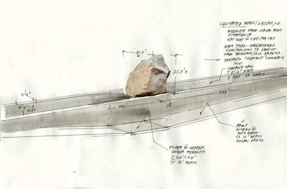 Sketch by Michael Heizer for 'Levitated Mass' at Los Angeles County Museum of Art. © 2012 Michael Heizer. Image from Los Angeles County Museum of Art's website.