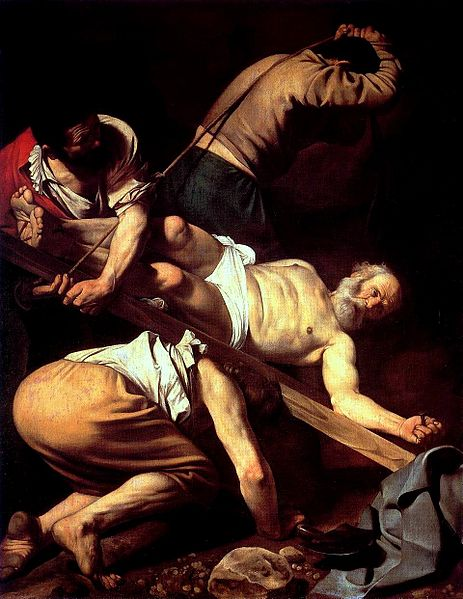 Michelangelo Merisi da Caravaggio, <em>The Crucifixion of Saint Peter</em>, 1601. Cerasi Chapel, Santa Maria del Popolo, Rome. | Photo: Courtesy of Wikipedia Commons.