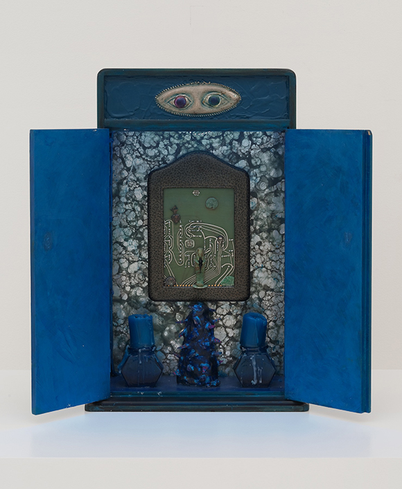 "Betye Saar, ""Indigo Illusions,"" 1991, mixed media assemblage with neon, 17 1/2 x 11 1/2 x 5 inches, lent by the artist, courtesy of Roberts & Tilton, Culver City, CA 