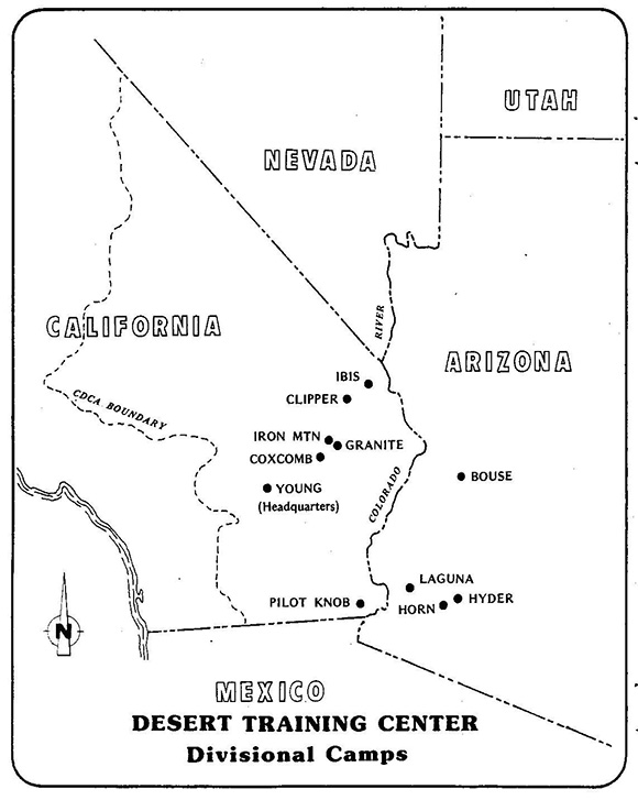 The Desert Training Center/ California- Arizona Maneuver spanned three states, though the majority of divisional camps and the headquarters were located in California. | Area maps courtesy of the Bureau of Land Management, Needles Field Office