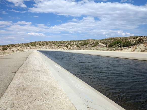 Cement channel of Los Angeles Aqueduct in the hills of Pearblossom, California, off U.S. Route 18. | Photo:Tyler Stallings.