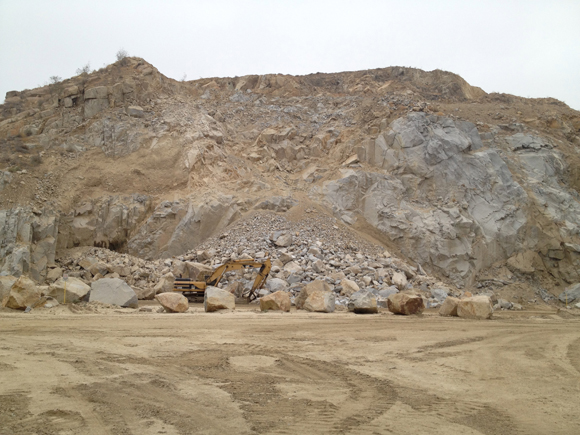 View of Stone Valley Materials, Jurupa Valley, California, showing location of Heizer's selected rock and hillside from which it came, June 2012. Image courtesy of Tyler Stallings.