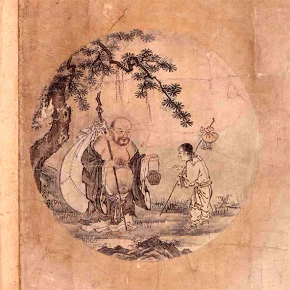 Illustration by K'uo-an Shihyuan, ca. mid-twelfth century, of the last poem in the series in which the oxherder returns to society with a sense of compassion towards everyone after attaining enlightenment.