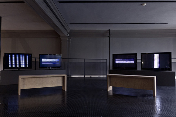 Installation view of <em>PASOS: Video Installations by Marsia Alexander-Clarke</em> in the first room or first stage of the installation. | Photo: Courtesy of UCR/California Museum of Photography.