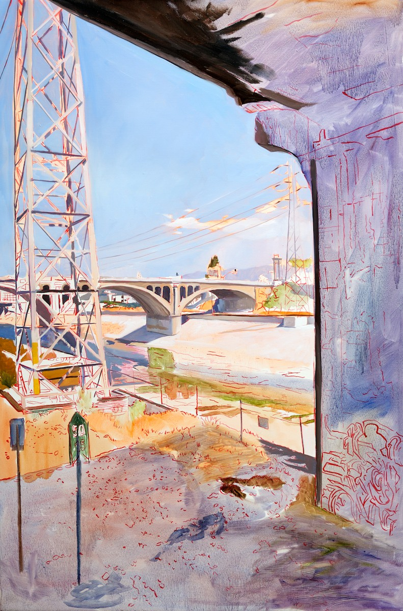 Close-up of an untitled painting of the L.A. River with details outlined in red. | Photo: Osceola Refetoff
