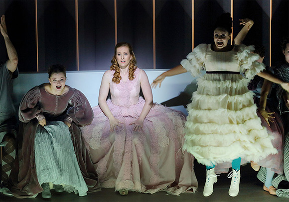 "Left to right: Kateryna Kasper as Belinda, Paula Murrihy as Dido and Summer Hassan as the Second Woman in ""Dido and Aeneas"" Photo: Craig Mathew/LA Opera"