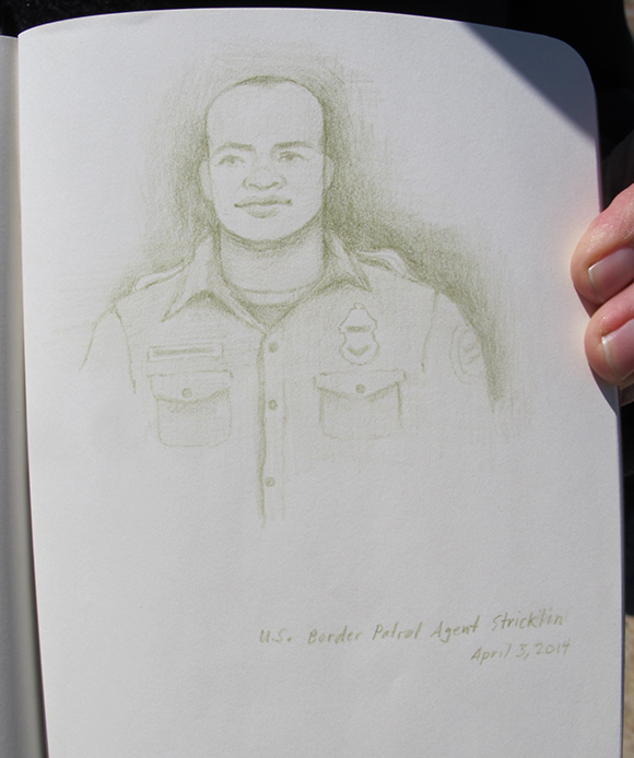 Portrait of U.S. Border Patrol agent Kris Stricklin. | Drawing: Amy Adler.