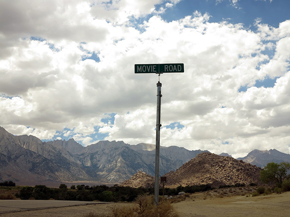 """Movie Road"" sign at the turnoff into the Alabama Hills where film location sites from early to mid-twentieth century sites for Hollywood western films can be viewed. 