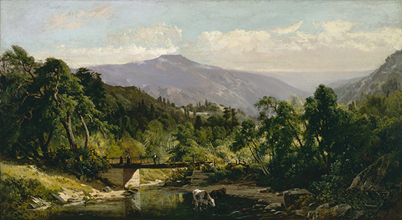 "William Keith, ""Loma Prieta, Morning in the Santa Cruz Mountains,"" 1874. Oil on canvas. Santa Barbara Museum of Art, Gift of the Bard Family in memory of Beryl Bard."