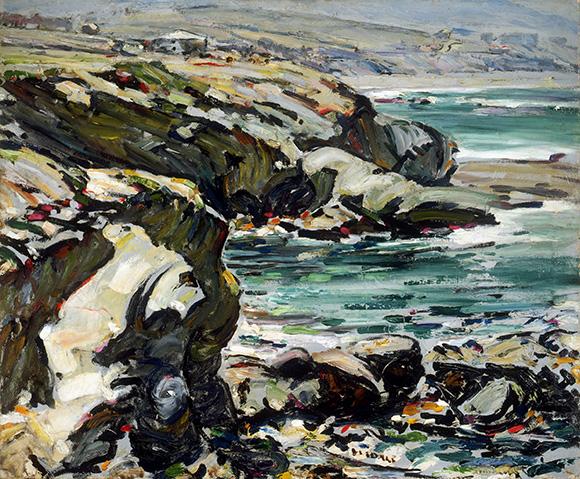 "Clarence Hinkle, ""Coast Line, Laguna,"" n.d. (ca. 1924). Oil on canvas. Santa Barbara Museum of Art, Gift of Mabel Bain Hinkle."