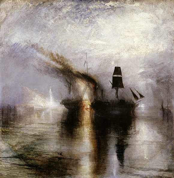 "Joseph Mallord William Turner (British, 1775 - 1851), ""Peace -- Burial at Sea,"" exhibited 1842. Oil on canvas, 34 1/4 x 34 1/8 in. Courtesy of Tate: Accepted by the nation as part of the Turner Bequest 1856. Photo © Tate, London 2014."