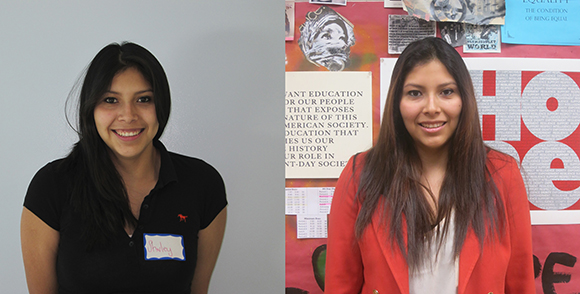 Shirley Ramirez in 2010 as a High School Junior at the East Los Angeles Renaissance Academy and as a Proyecto MercadoFRESCO Community Liaison in 2013.