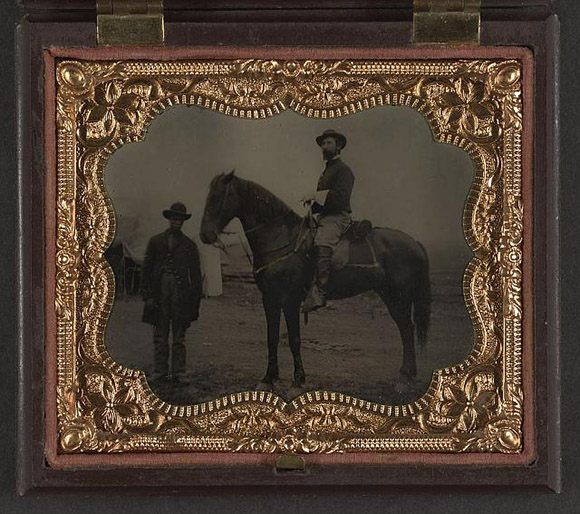 """Mounted Union officer with groom,"" 1863-1865 Liljenquist Family Collection of Civil War Photographs. 