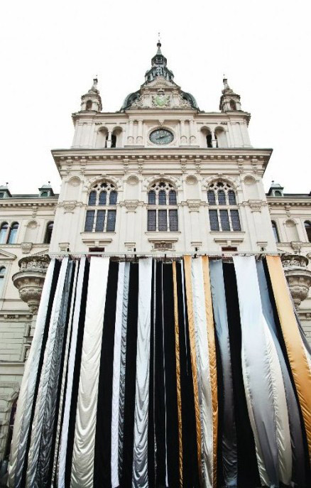Curtain Call For Graz. Steirischer Herbst. 2009. Utopia and Monument. Curator: Sabine Breitweiser. City Hall, Graz Silk, metal structure.10 x 13 x 1.50 m.