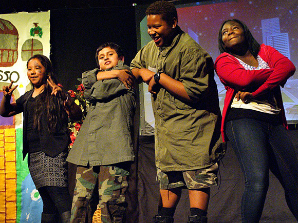 "Middle-school students perform their original play, ""The Wisdom of the Heart,"" at Vaughn Next Century Learning Center."