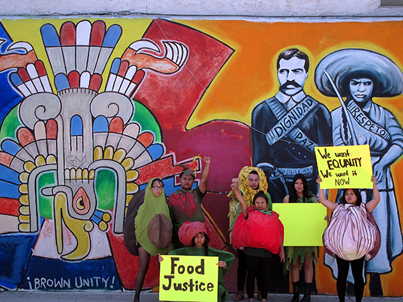 East Los Angeles Renaissance Academy High School Students Lilybeth Hernandez, Omar Vargas, Vanessa Zuniga, Andy Alvarez, Florisel Rojas, Shirley Ramirez, and Martha Mejia bringing food justice to the streets of East L.A.