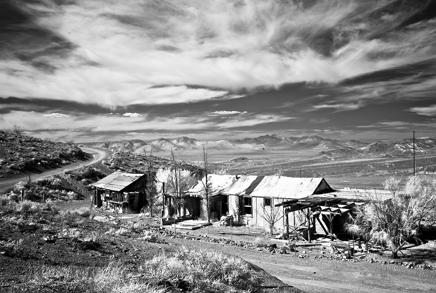 William 'Burro' Schmidt Cabin (at left) and Abandoned Caretaker's House, Infrared Exposure, 2011 | Photo: Osceola Refetoff