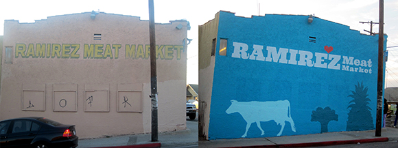 Before and after pictures at Yash La Casa and Ramirez Meat Markets highlight the colorful, graphic approach Public Matters takes to transforming not just the look but the overall concept of what a corner store can be.    <br />