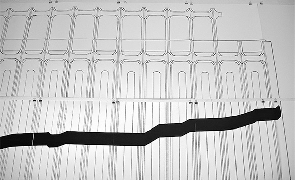 Cape Name / Cabo Nombre. University of California at Irvine, CAC Gallery. 2013. Thirteen paintings, studies of horizon's line. Synthetic fabric. 1.5 m x 1.5 m.