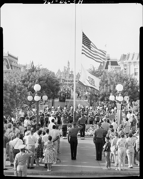 Disneyland Band performs at the Flag Retreat ceremony in Town Square in the 1950s. | Photo: Courtesy Disneyland Resort Archives.