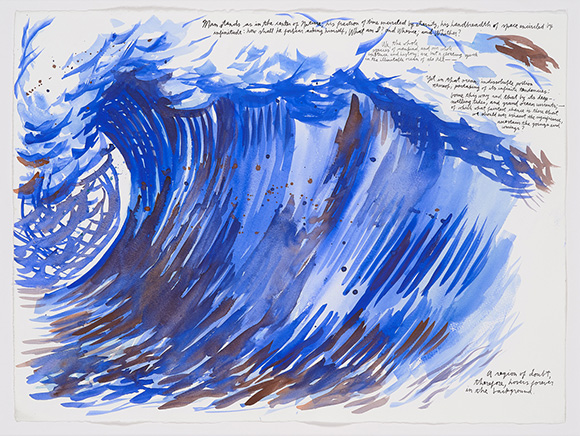 "Raymond Pettibon, ""No Title (Man stands as),"" 2005. Ink and watercolor on paper, 22 1/2 x 30 in. Courtesy of the artist and Venus Over Manhatten."