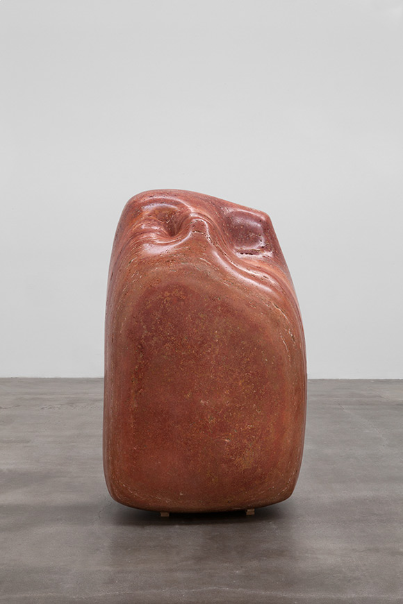 Alma Allen, Not Yet Titled, 2014, Red travertine, 59 x 38 x 29 inches | Courtesy of the artist and Blum & Poe